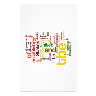 United States Constitution Preamble Word Cloud Stationery Design
