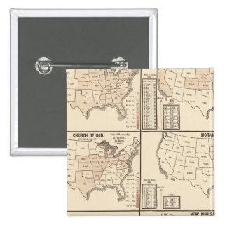 United States denominational statistics 15 Cm Square Badge