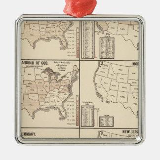 United States denominational statistics Silver-Colored Square Decoration