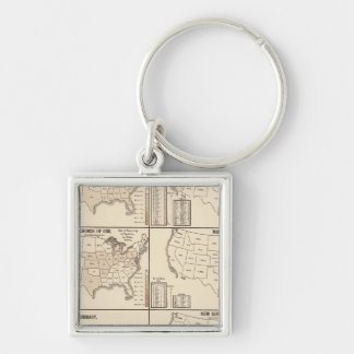 United States denominational statistics Silver-Colored Square Key Ring