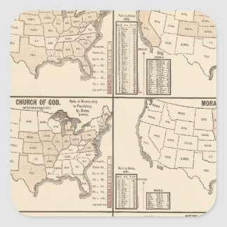 United States denominational statistics Square Sticker