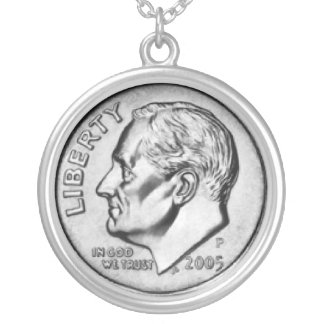 United States Dime Money necklace. Silver Plated Necklace