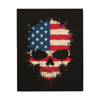 United States Dripping Splatter Skull Wood Print