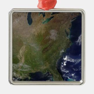 United States East Coast 2 Silver-Colored Square Decoration