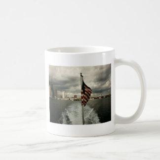 United States Flag and New York City Skyline Basic White Mug
