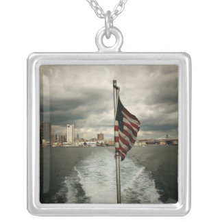 United States Flag and New York City Skyline Square Pendant Necklace