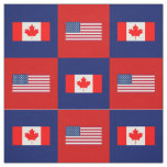 United States Flag, Canada Flag on Blue and Red Fabric