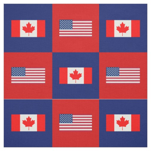 United States Flag, Canada Flag on Blue and