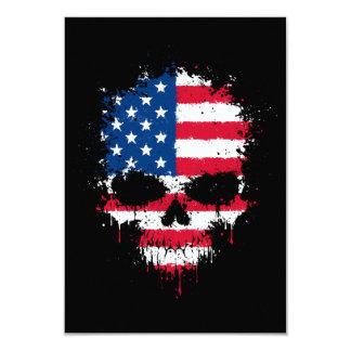 United States Flag Dripping Splatter Skull Personalized Invite