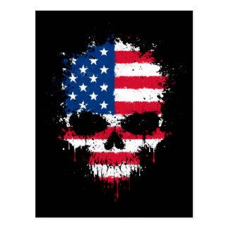 United States Flag Dripping Splatter Skull Postcard