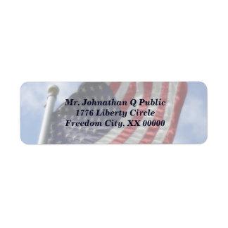 United States Flag Flying Return Address Label