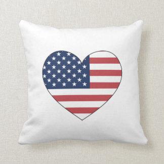 United States Flag Heart Cushion