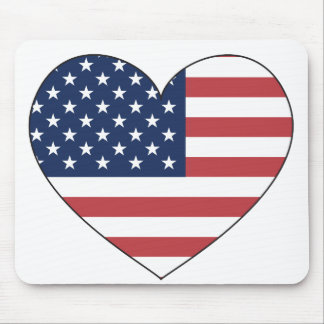 United States Flag Heart Mouse Mat