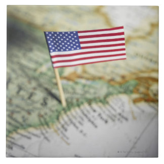 United States flag in map Large Square Tile