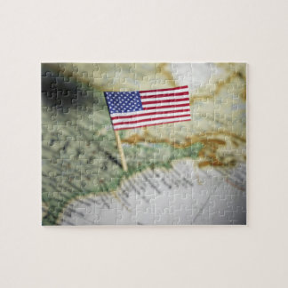 United States flag in map Puzzle