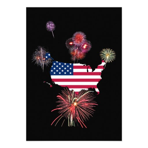 United States Flag-Map and Fireworks Personalized Announcement