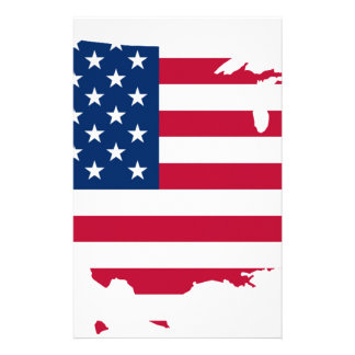 United States Flag Map Customized Stationery