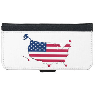 United States Flag-Map iPhone 6 Wallet Case