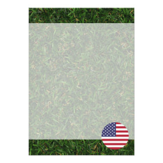 United States Flag on Grass 13 Cm X 18 Cm Invitation Card