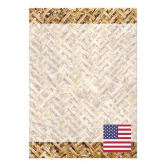United States Flag on Textile themed 13 Cm X 18 Cm Invitation Card