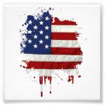 United States Flag Paint Splatter Photographic Print
