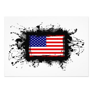 United States Flag Personalized Invitations