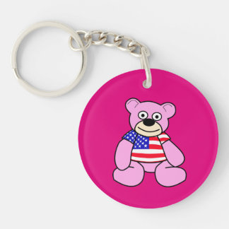 United States Flag - Pink Teddy Bear Double-Sided Round Acrylic Key Ring