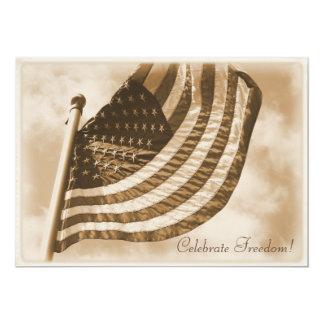 United States Flag Sepia Patriotic 13 Cm X 18 Cm Invitation Card
