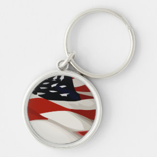 United States Flag Silver-Colored Round Key Ring