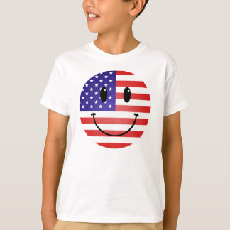 United States Flag Smiley T-Shirt