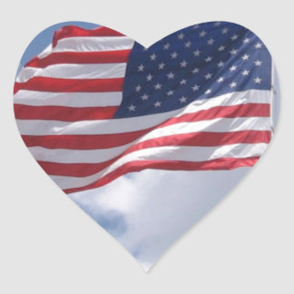 United States Flag Heart Stickers