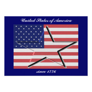 United States Flag with 3-D Star Invitations