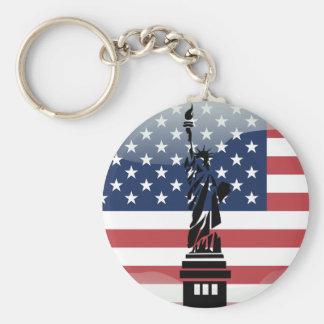 United States glossy flag Basic Round Button Key Ring