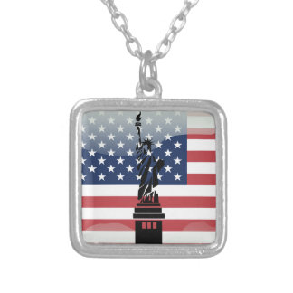 United States glossy flag Silver Plated Necklace
