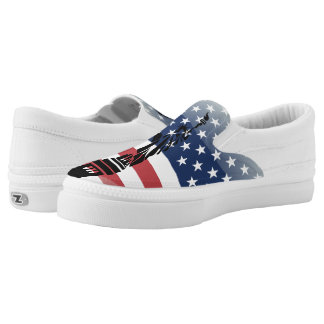 United States glossy flag Slip-On Shoes