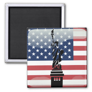 United States glossy flag Square Magnet