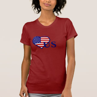 United States Heart Flag US Ladies Red T-shirt