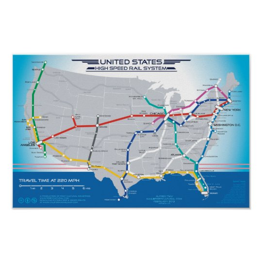 United States High Speed Rail System Map v1.01 Poster