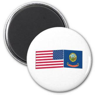 United States & Idaho Flags 6 Cm Round Magnet