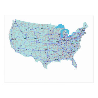 United States Interstate Map Postcard
