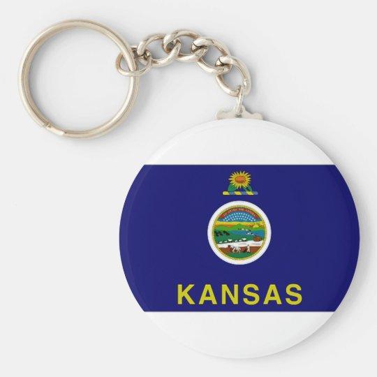United States Kansas Flag Basic Round Button Key Ring