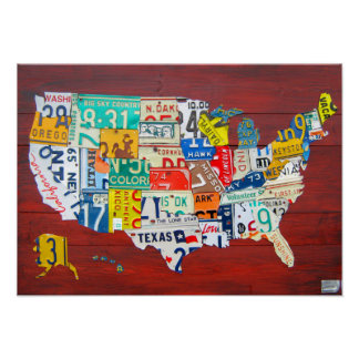 United States License Plate Map 2011 Red Version Poster