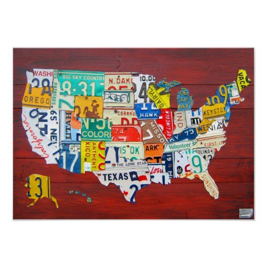 United States License Plate Map 2011 Red Version