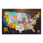 United States License Plate Map Canvas Print