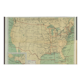 United States Light-House Outline Map 1896 Stationery Design