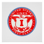 United States Lines First Class Label Poster