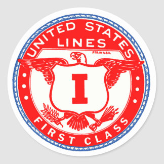United States Lines First Class Label Round Sticker