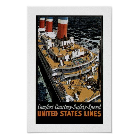 United States Line's Leviathan Aft View Poster