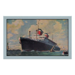 United States Lines SS America aquarelle Poster