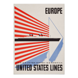 United States Lines Travel Poster